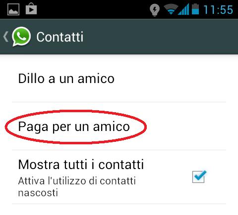 come pagare whatsapp amico 3