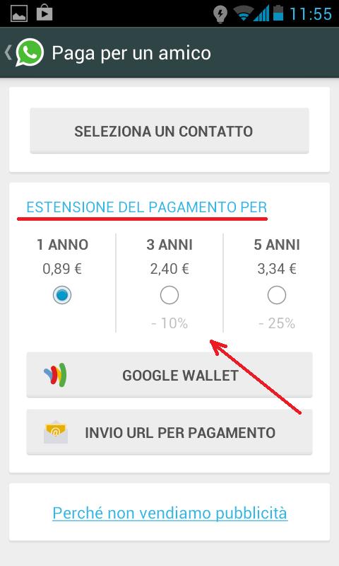 come pagare whatsapp amico 4