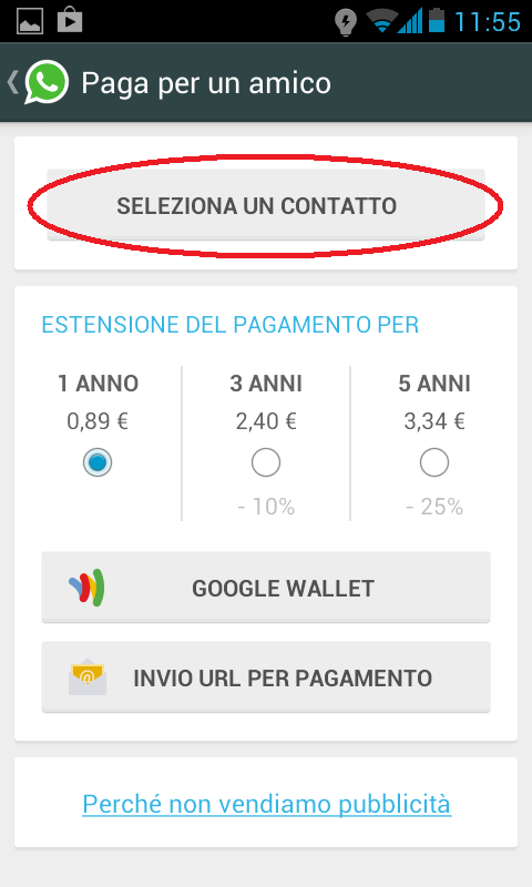 come pagare whatsapp amico 5