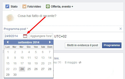 come programmare post pagina facebook 3