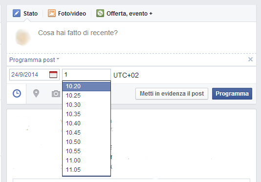 come programmare post pagina facebook 4